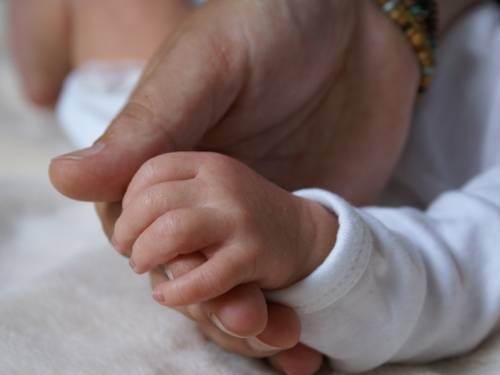 Babyhand liegt in Erwachsenenhand