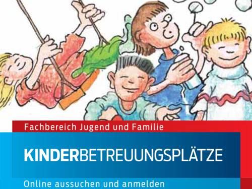"""Zeichnung von spielenden Kindern, darunter die Worte """"Fachbereich Jugend und Familie - Kinderbetreuungsplätze online aussuchen und anmelden"""""""