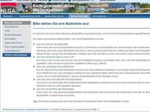 Badegwässer-Atlas Niedersachsen - Niedersächsisches Landesgesundheitsamt
