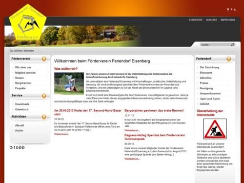 Screenshot von der Homepgae des Förderveins Eisenberg e.V.