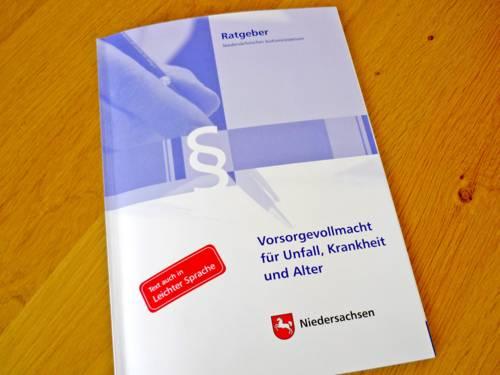 """Ratgeber """"Vorsorgevollmacht"""" des Niedersächsischen Justizministeriums"""