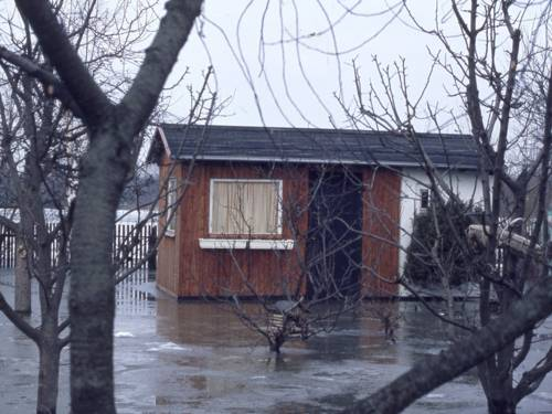 Gartenlaube in einem überschwemmten Kleingarten