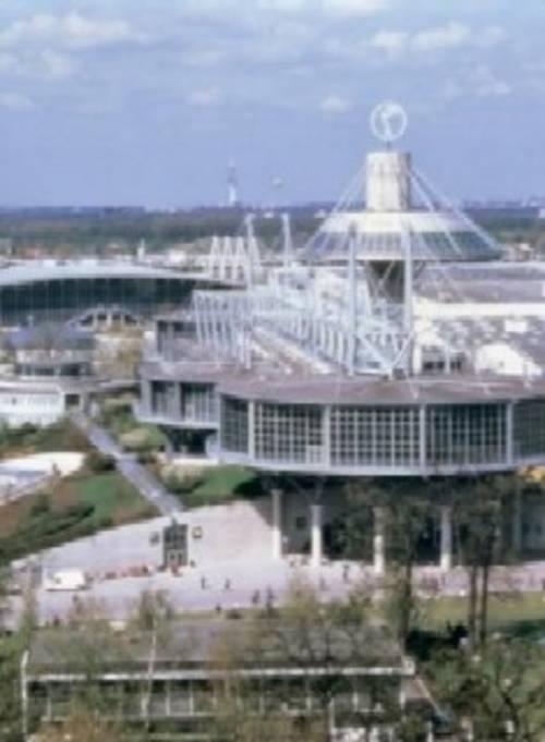Luftbild von hannoverschen Messegebäuden