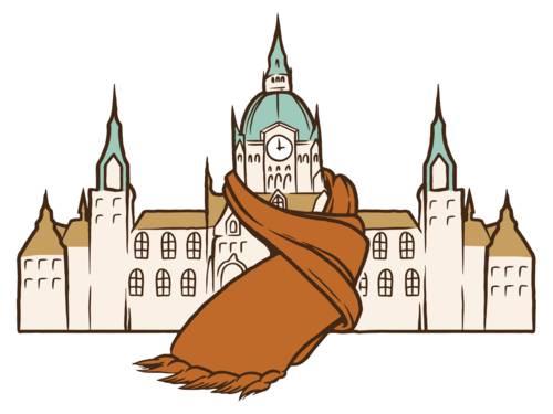 Eine bunte Zeichnung, die das Neue Rathaus zeigt, das einen Schal trägt.