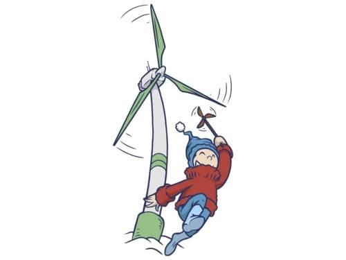 Illustration, die einen Jungen mit einer kleinen Windmühle in der Hand vor einem Windrad zeigt.