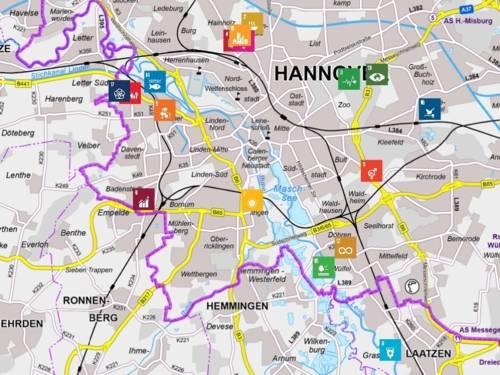 """Stadtkarte von Hannover mit den Standorten zur Geocaching-Tour """"Nachhaltige Ge(o)heimnisse"""""""