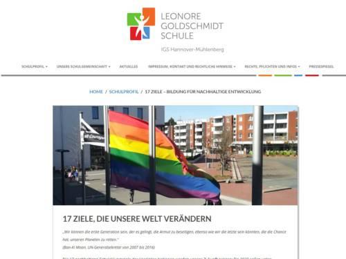 Screenshot, der die Internetseite der Leonore-Goldschmidt-Schule zeigt.