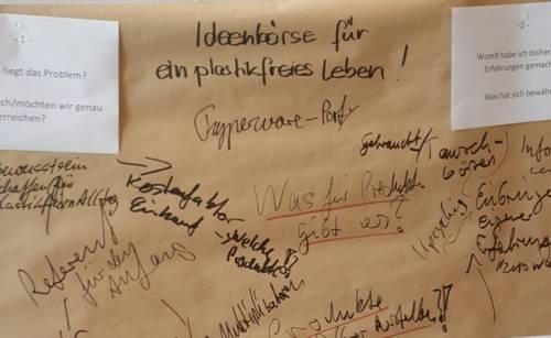 Auf einem Plakat stehen Ideen für die Organisation einer Veranstaltung zum Thema Plastik vermeiden.