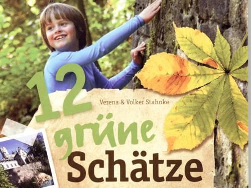 """Auf dem Buchcover mit dem Titel """"12 grüne Schätze"""" ist ein Kind zu sehen, das einen Baum berührt"""