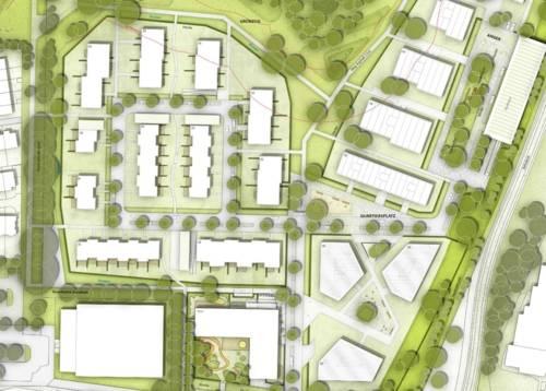 """Grafik eines Planungsmodels für das Neubauvorhaben """"Herzkamp"""""""