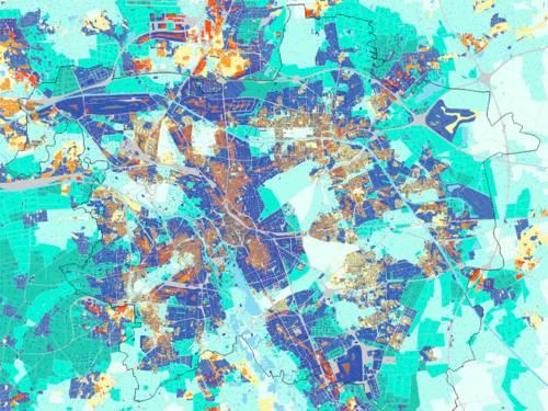 Klimaanalysekarte der Landeshauptstadt, die Kaltluft- und Warmluftzonen in der Stadt anhand von verschiedener Farbigkeit aufzeigt, sowie Strömungsrichtungen der Luft mit Hilfe von Pfeilen