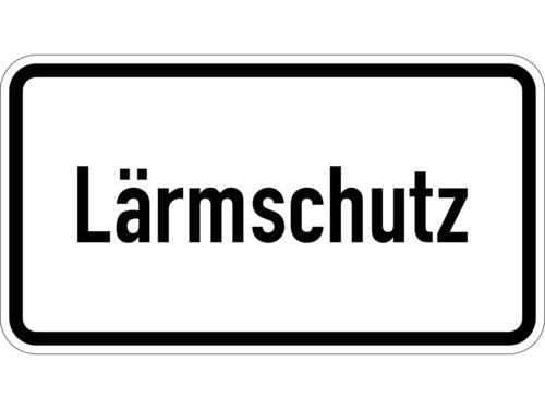 """Ein weißes Schild mit dem Schriftzug """"Lärmschutz"""""""