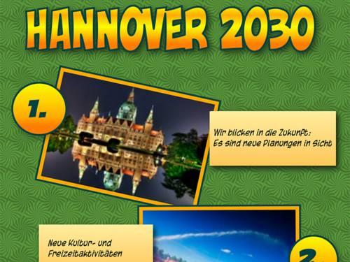 """Der Schriftzug """"Hannover 2030"""" mit Foto des Rathauses"""
