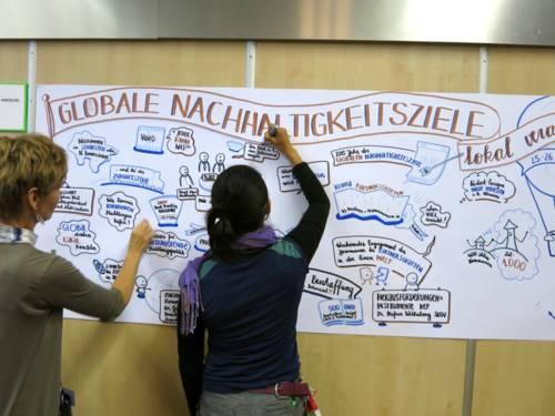 Zwei Frauen visualisieren Nachhaltigkeitsziele an einer Schauwand
