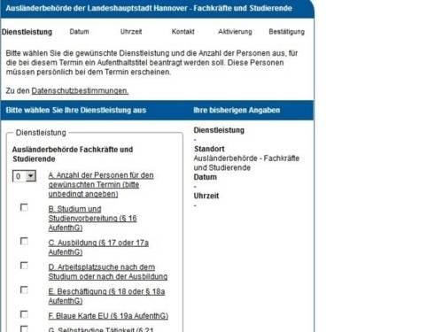 Vorschau auf die Onlineanwendung zur Buchung eines Termins für ausländische Fachkräfte und Studierende bei der Ausländerbehörde Hannover