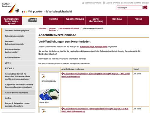 Vorschaubild auf die Internetseite des Kraftfahrbundesamtes, auf der die Anschriftenverzeichnisse von Zulassungsbehörden und Fahrerlaubnisbehörden liegen.