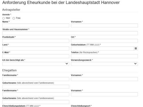 """Vorschauansicht auf das Online-Formular """"Anforderung einer Eheurkunde bei der Landeshauptstadt Hannover"""""""