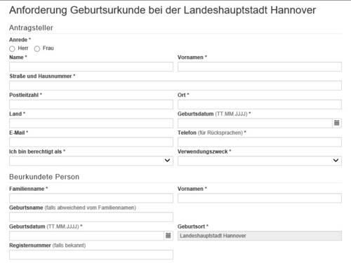 """Vorschauansicht auf das Online-Formular """"Anforderung einer Geburtsurkunde bei der Landeshauptstadt Hannover"""""""
