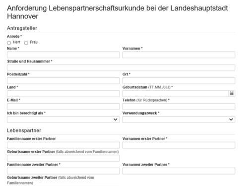 """Vorschauansicht auf das Online-Formular """"Anforderung einer Lebenspartnerschaftsurkunde bei der Landeshauptstadt Hannover"""""""