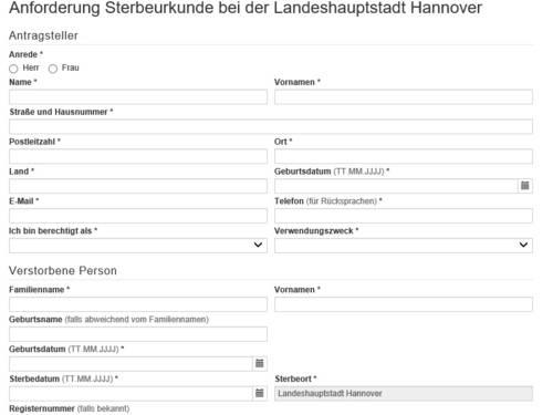 """Vorschauansicht auf das Online-Formular """"Anforderung einer Sterbeurkunde bei der Landeshauptstadt Hannover"""""""