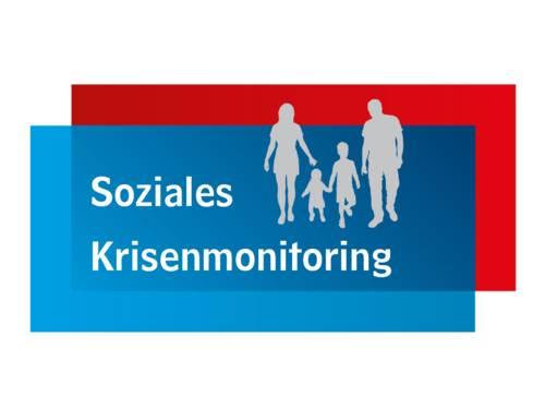 """Grafik mit einer Familie und dem Schriftzug """"Soziales Krisenmonitoring"""""""