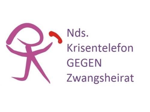 """Das Logo zeigt eine stilisierte Frauenfigur mit einem roten Telefon, daneben der Schriftzug """"Nds. Krisentelefon GEGEN Zwangsheirat"""""""