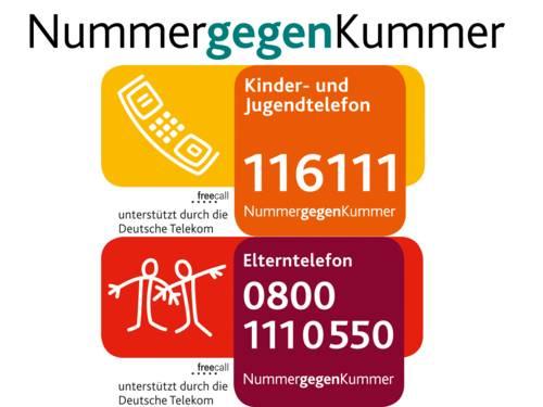 Die Nummer gegen Kummer bietet unter 116 111 eine Beratung für Kinder und Jugendliche und unter 0800 111 0 550 ein Beratungsangebot für Erziehende.