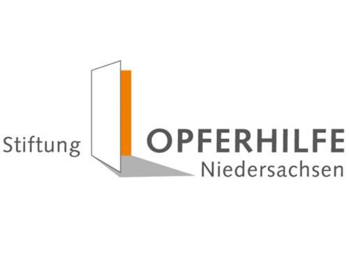 Das Logo der Stiftung Opferhilfe Niedersachsen zeigt neben dem entsprechenden Schriftzug einen stilisierten geschützten Raum.