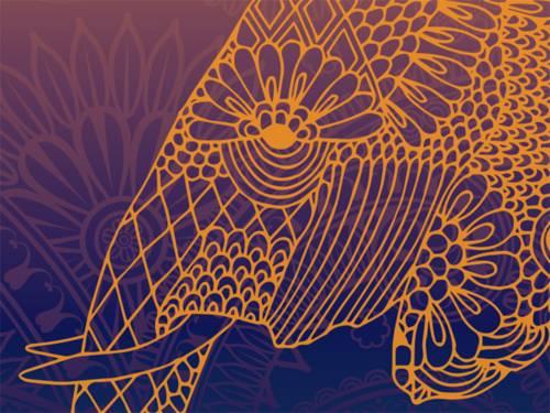 """Zeichnung eines mit Ornamenten verzierten Elefantenkopfs - das Wahrzeichen der """"India Days""""."""
