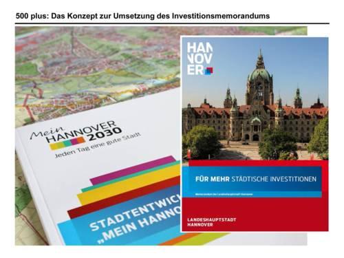 """Auf der Stadtkarte Hannovers liegt die Publikation """"Mein Hannover 2030 - Stadtentwicklung"""" sowie das Memorandum der Landeshauptstadt für mehr städtische Investitionen"""