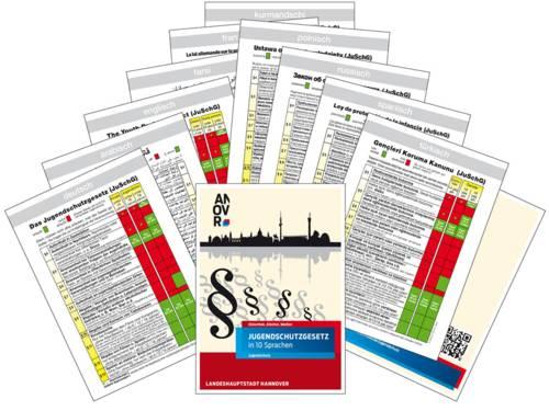 Das Jugendschutzgesetz als Broschüre in zehn verschiedenen Sprachen