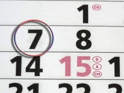 Kalender mit umrahmten Datum