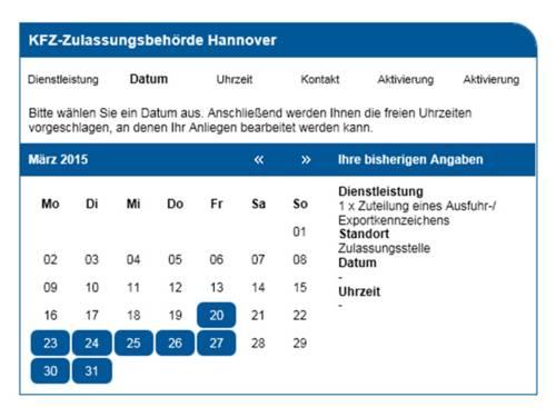 Datumseingabe bei der Online-Terminvereinbarung der KFZ-Zulassungsbehörde Hannover