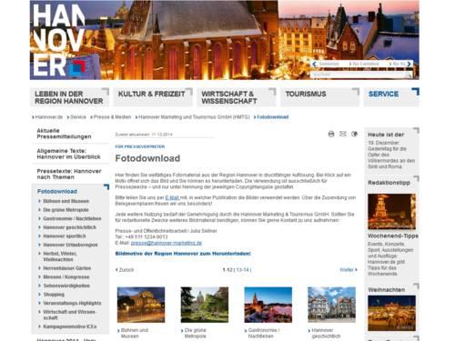 Screenshot von Hannover.de/fotodownload