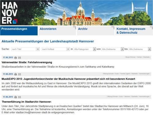 Screenshot Presseservice