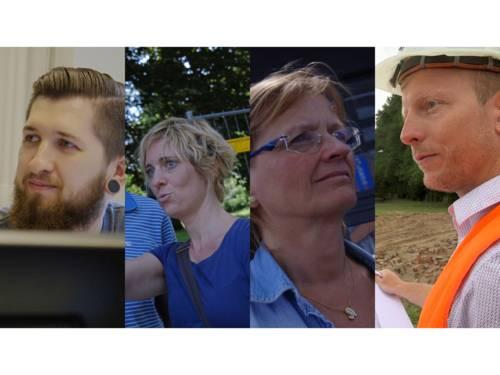 Foto-Collage mit vier Arbeitnemerinnen und Arbeitnehmern der Landeshauptstadt Hannover