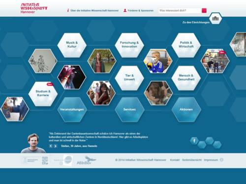 Ansicht der Startseite von www.wissen.hannover.de