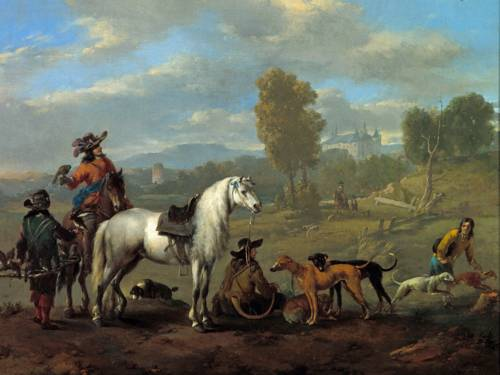 Historisches Gemälde, das Jäger mit Pferden und Hunden bei einer Rast zeigt.