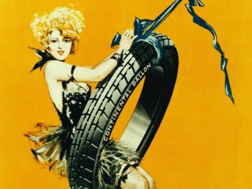 Zeichnung einer Frau, die einen Reifen als Schaukel nutzt.