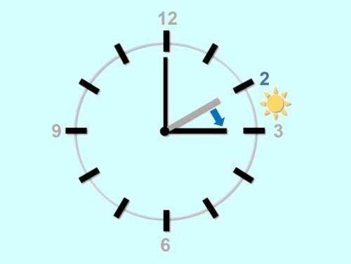 Eine Uhr, auf der mit einem kleinen roten Pfeil symbolisiert wird, dass die Uhrzeit eine Stunde vorgestellt wird.