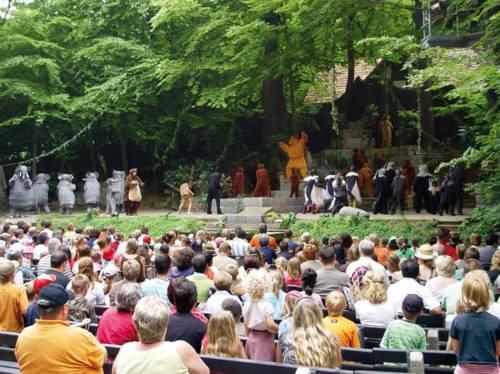 Die Osterwaldbühne von den hinteren Zuschauerplätzen: Auf den Stühlen sitzt das Publikum, auf der Bühne spielen als Elefanten und andere wilde Tiere verkleidete Jugendliche und Erwachsene das Dschungelbuch.