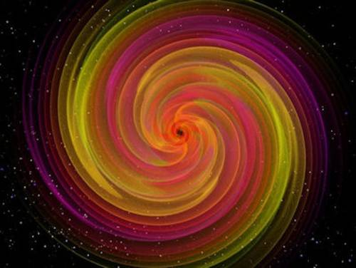 Bunte Spirale vor dunklem Hintergrund