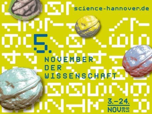 """Grafik mit vier Nüssen und dem Schriftzug """"5. November der Wissenschaft"""""""