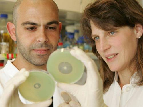 Ein Mann und ein Frau schauen sich ein Objekt an, das sie in den Händen halten.