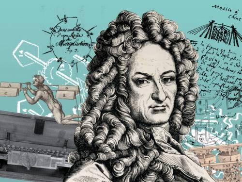 Collage von einer Porträtzeichnung eines Mannes mit Konstruktionszeichnungen