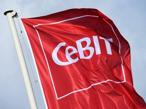 Fahne mit dem Aufdruck CeBIT