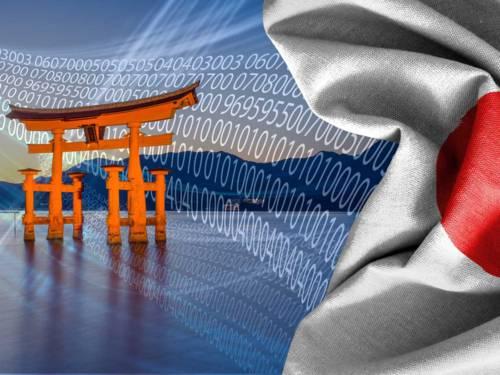 Japanischer Tempel und Flagge vor Computergrafik