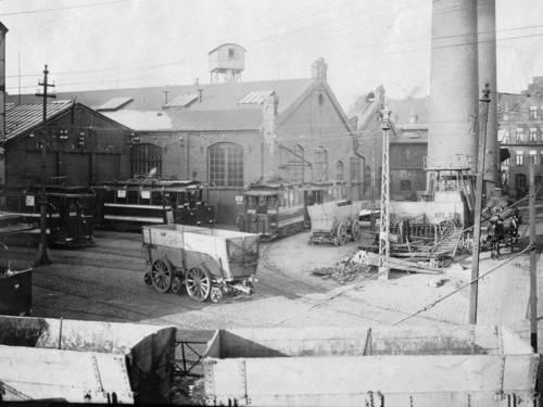Historisches Foto eines Straßenbahnbetriebshofs