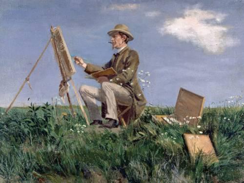 Gemälde eines Malers vor einer Staffelei in freier Landschaft