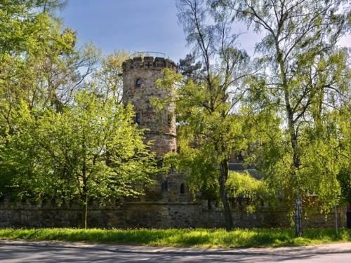 Burgähnliches Gebäude hinter Bäumen